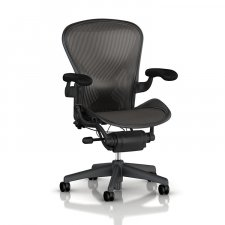 Fauteuil AERON Taille B Graphite Acc. cuir - Herman MILLER