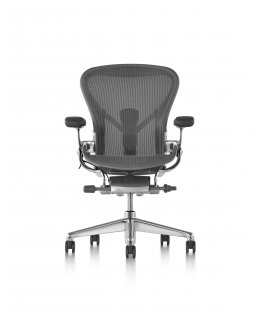 Fauteuil AERON Remastered Taille B Carbon/Alu poli - Herman MILLER